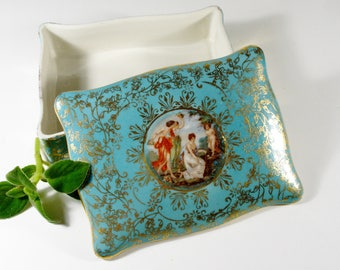 Vintage Porcelain Trinket Box, M&R Hand Painted Jewelry Box, Ring Holder