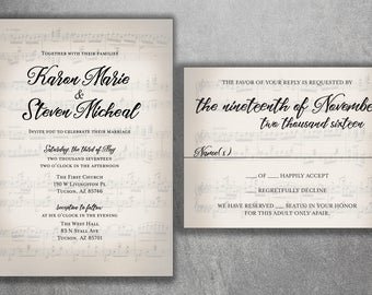 Sheet Music Wedding Invitation Musical Wedding Invitation