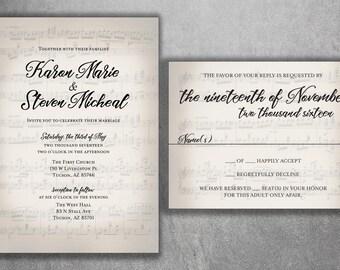 Musical Wedding Invitation set Printed, Sheet Music Wedding Invitation, RSVP, Music Notes, Invite with RSVP, Song