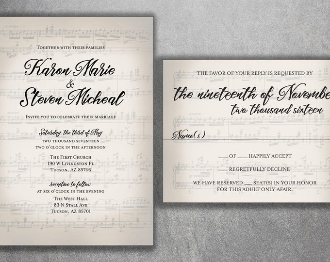 Musical Wedding Invitation set Printed, Sheet Music Wedding Invitation, RSVP, Music Notes, Invite with RSVP, Song
