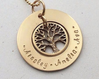 Gold Family Tree Engraved Hand Stamped Personalised Name Necklace Pendant