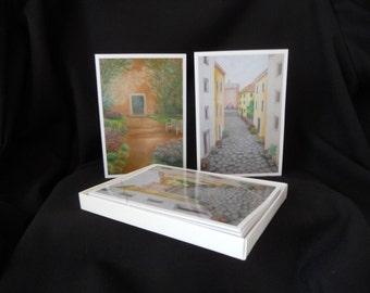 Boxed Set of 6 Fine Art Note Cards of Italian Scenes from Original Oil Paintings