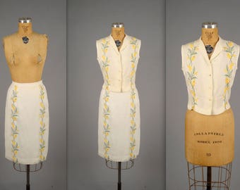 1940s white linen blouse and skirt set • vintage two-piece embroidered floral suit • ladies cowgirl ranchwear