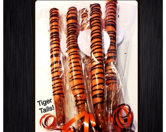 Tiger themed Chocolate Covered Pretzels - Tiger stripes set of 12