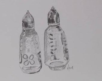 salt and pepper shaker drawing , small drawing , graphite , hand done from life , kitchen art , home decor , original sketch , gift , black