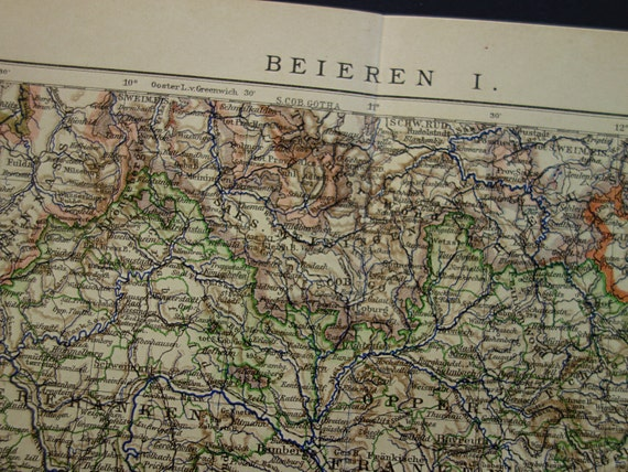 GERMANY antique map 1906 old print of northern Bavaria