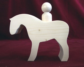 Large Chunky Horse with Peg Doll Rider, Unfinished Pine