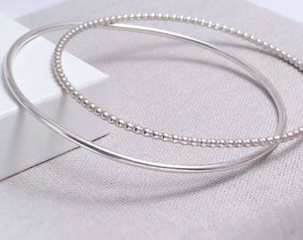 Sterling Silver Stacking Bangles | Set of 2 | Gifts For Her | Silver Bangles UK