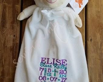 Lamb lovie etsy personalized baby gift lamb lovie blanket snuggle blanket stuffed animal blanket monogrammed negle Gallery