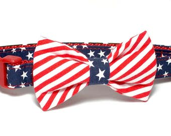 Patriotic Stars and Stripes Dog Collar Bow Tie set, pet bow tie, collar bow tie, wedding bow tie, pet photography, memorial day