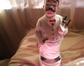 """Musical Antique Liquor DECANTER BARTENDER plays """" How Dry I Am """" 12.5"""" Cork and all in  FLAWLESS Mint Condition"""