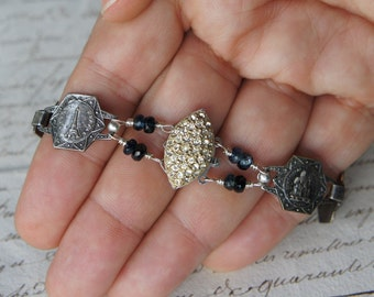 Antique Assemblage Vintage Revival Bracelet with Pave Style Rhinestone Clasp, French Souvenir Links and Labradorite