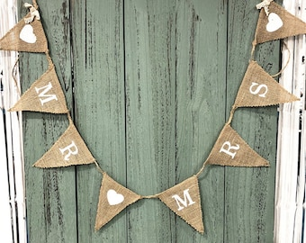 Mr Mrs Wedding Photo Props Vintage Banner Marry Rustic Garland Flag Party Hanging Wedding Decoration Burlap