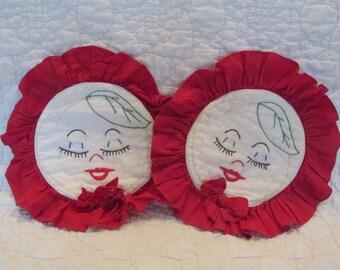 Set of Vintage Pot Holders Hand Stitched Sale