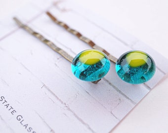 Fused glass hairpins, colorful glass bobby pins, set of 2 fused glass hairpins, blue and green glass hair accessories, colorful barrettes