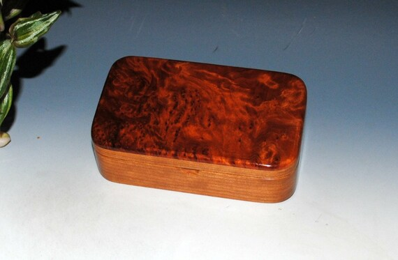 Handmade Wood Treasure Box - Small Wooden Box of Redwood Burl on Cherry - Stash Box, Keepsake Box, Jewelry Box, Wood Gift Box - Handmade Box