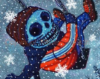 Winter Skeleton Kid on Swingset Year of the Dead Signed Print by Mister Reusch