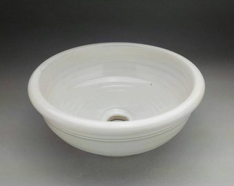 """16"""" wide by  6"""" high Handmade white glazed Porcelain Pottery Vessel Sink , Designed with Hand made potters spiral - Made to Order"""