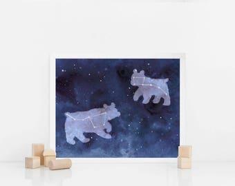 Watercolor Big dipper and small dipper   watercolor Ursa major and minor   constellation   personalized gift   zodiac art print   indigo