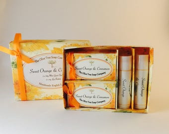 Sweet Orange and Cinnamon Mini Guest Soap and  Lip Butter Gift Box
