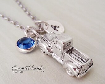 Truck Necklace - 3D Vehicle Necklace - Personalized Initial and Birthstone - Antique Silver Pewter Jewelry