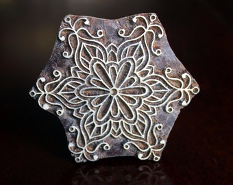 Wood Block, Tjaps, Carved wood stamp, Indian wood stamps, Pottery Stamp, Soap Stamp-Snowflake/Round Motif