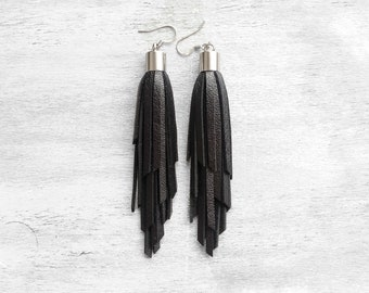 Black Leather Tassel Earrings Black leather Gift under 20