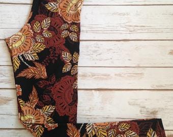 Brushed Poly Leggings, Retro Orange & Mustard Floral on Black
