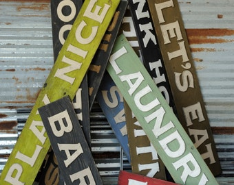 Custom Word Sign Pick the Word, Laundry, Play, Bunk House, etc. Color Word Sign House Sign