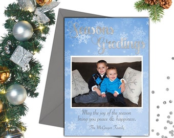 Silver and Blue Christmas Card Photo; Blue Holiday Cards; Photo Christmas Cards; Photo Holiday Cards; Christmas Photo Cards