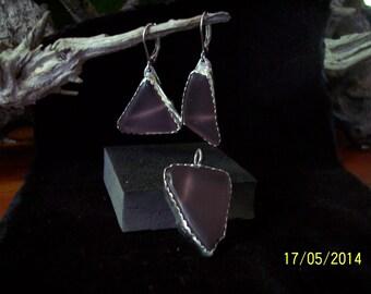 Sea Glass Earring, Pendant set..