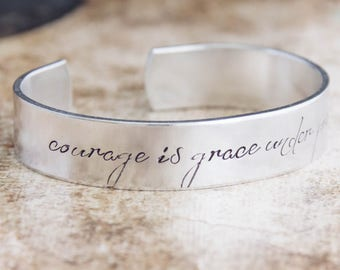 Courage Is Grace Under Pressure / Inspirational Jewelry / Inspirational Bracelet / Quote Jewelry / Ernest Hemingway / Motivational Jewelry