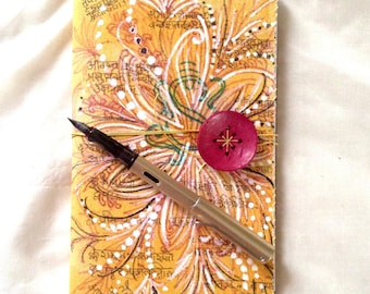 Painted Canvas Journal.  Yoga Journal. Removable Cover. Doodle Art.