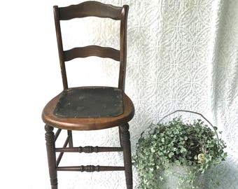 Vintage Wood and Leather Chair | Leather Bottom Wood Chair | Kitchen Chair | Farmhouse Chair | Spaulding Fibre Chair | Rustic Extra Seating