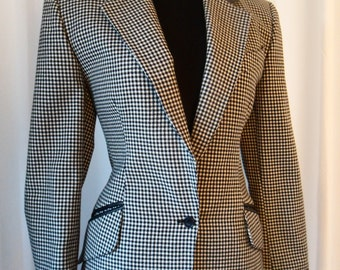 70s Rare collectible COMPLICE (Genny/Versace) black & white houndstooth/ leather hourglass hunting jacket : Italy 38/US 4-6