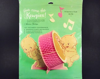Rare Unused Kewpie Honeycomb Centerpiece, New in Package, Rose O'Neill American Greetings, Birthday, Baby Shower, 1970s