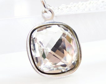 Clear crystal necklace - clear square pendant - Swarovski crystal - crystal pendant