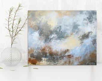 "Abstract Painting / Contemporary Art / Original Artwork. ""Silver Dollar"" Acrylic on Canvas 16x20"""