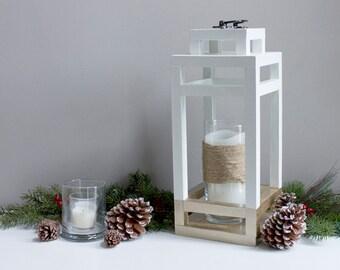 Large White Wood and Gold Metallic Lantern, Decorative Candle Holder