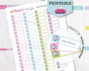 Fish Stickers, Printable Kawaii Sticker,Label Reminder, Planner Cute Pet Shop Sticker, Erin Condren, K042