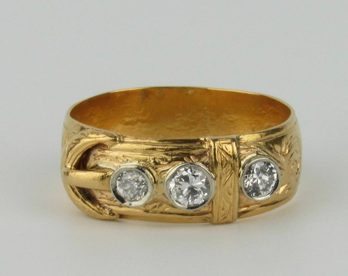 Featured listing image: Late 19th C Diamond Studded Belt or Buckle Ring