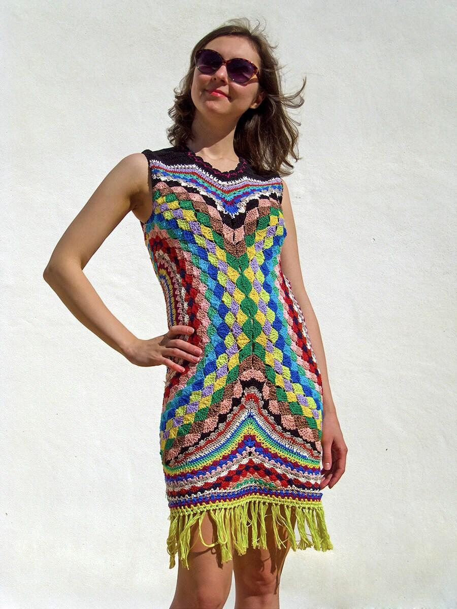 Häkeln Mode-TRENDS Häkeln Kleid Feuerwerk Farben