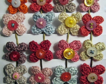 Crochet Pattern for Flowery Bobby Pins