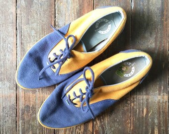 Vintage 90s Liz Claiborne Blue + Mustard Yellow Two Tone Lace Up Sneakers 9