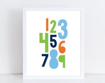 Numbers print / Numbers wall art / Nursery art / Kids decor / Nursery print boy / Kids print / Children print / Kids wall art / Playroom art