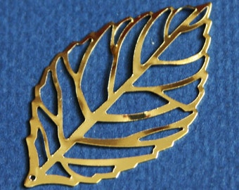 10 pcs of Gold plated  stamp leaf 54x30