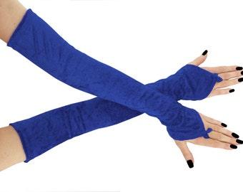 Blue gloves extra long gloves long fingerless gloves velvet gloves arm warmers burlesque formal gloves long gloves evening gloves blue 0965