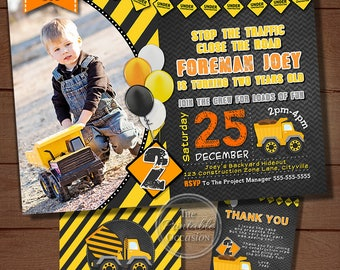 Construction Birthday Invitation, Construction Party, Construction Birthday, Construction Invitation, Boys Construction, Dump Truck, Truck