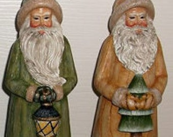 Hand Painted Resin Santa's, 2 pc resin