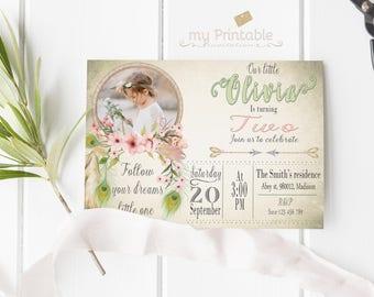 Dreamcatcher Birthday  Invitation / Digital Printable Invite for Kids / Party / DIY 1st